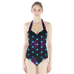 Sound Wave Frequency Halter Swimsuit
