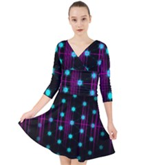 Sound Wave Frequency Quarter Sleeve Front Wrap Dress