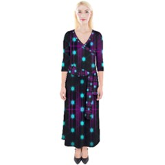 Sound Wave Frequency Quarter Sleeve Wrap Maxi Dress by HermanTelo