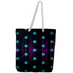Sound Wave Frequency Full Print Rope Handle Tote (large)