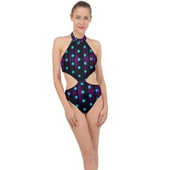 Sound Wave Frequency Halter Side Cut Swimsuit
