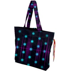 Sound Wave Frequency Drawstring Tote Bag