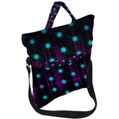 Sound Wave Frequency Fold Over Handle Tote Bag