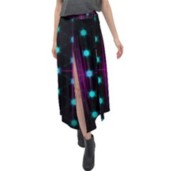 Sound Wave Frequency Velour Split Maxi Skirt