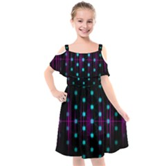 Sound Wave Frequency Kids  Cut Out Shoulders Chiffon Dress