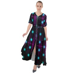 Sound Wave Frequency Waist Tie Boho Maxi Dress