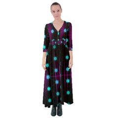 Sound Wave Frequency Button Up Maxi Dress