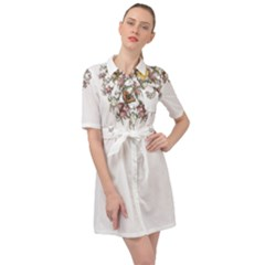 Lady Of The Flowers   By Larenard Studios Belted Shirt Dress