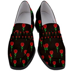 Red Water Color Rose On Black Women s Chunky Heel Loafers by snowwhitegirl