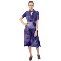 Blue Purple Ink                           Keyhole Neckline Chiffon Dress