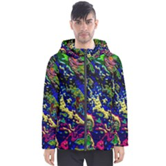 3d Colorful Texture 2                       Men s Hooded Puffer Jacket by LalyLauraFLM