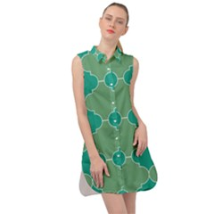 Tiles Arabesque Ottoman Bath Sleeveless Shirt Dress by Wegoenart