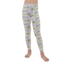 Spoon Pattern Illustrator Green Kids  Lightweight Velour Leggings
