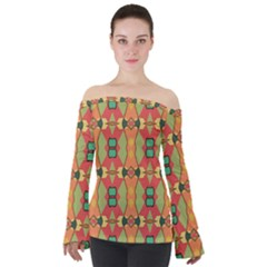 Pattern Orange Green African Off Shoulder Long Sleeve Top