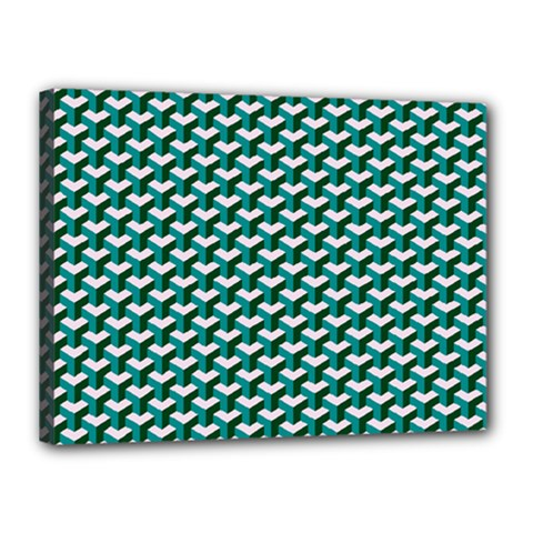 Pattern Green Blue Grey Hues Canvas 16  X 12  (stretched)