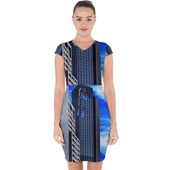 Architecture Frankfurt Houses Capsleeve Drawstring Dress