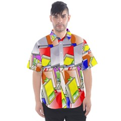 Books Pattern Reading Wallpaper Men s Short Sleeve Shirt