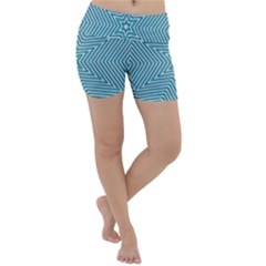 Lines Blue Repeating Textile Lightweight Velour Yoga Shorts