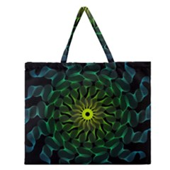 Abstract Ribbon Green Blue Hues Zipper Large Tote Bag