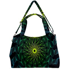 Abstract Ribbon Green Blue Hues Double Compartment Shoulder Bag