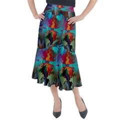 Background Sci Fi Fantasy Colorful Midi Mermaid Skirt