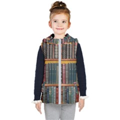 Books Library Bookshelf Bookshop Kids  Hooded Puffer Vest by Wegoenart