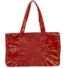 Rays Pattern Center Abstract Red White Canvas Work Bag by Wegoenart