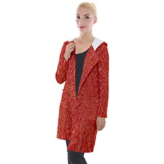 Rays Pattern Center Abstract Red White Hooded Pocket Cardigan