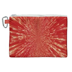 Rays Pattern Center Abstract Red White Canvas Cosmetic Bag (xl)