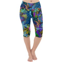Flowers Abstract Branches Lightweight Velour Cropped Yoga Leggings