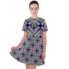 Pattern Wallpaper Background Abstract Geometry Short Sleeve Shoulder Cut Out Dress