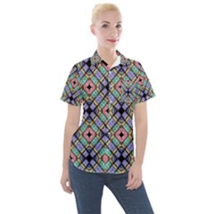 Pattern Wallpaper Background Abstract Geometry Women s Short Sleeve Pocket Shirt