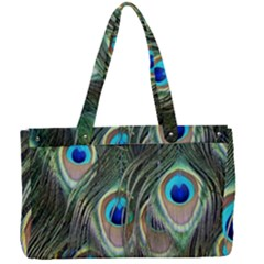 Peacock Feathers Peacock Bird Canvas Work Bag by Wegoenart