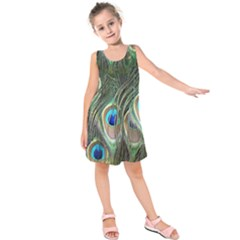 Peacock Feathers Peacock Bird Kids  Sleeveless Dress