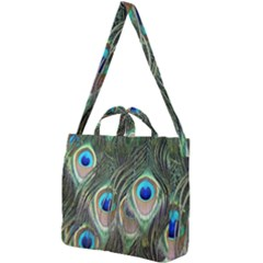 Peacock Feathers Peacock Bird Square Shoulder Tote Bag