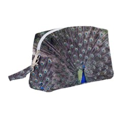 Peacock Bird Feather Plumage Green Wristlet Pouch Bag (medium)