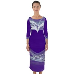 Heart Chakra Quarter Sleeve Midi Bodycon Dress
