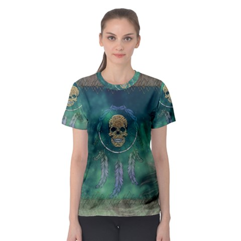 Dreamcatcher With Skull Women s Sport Mesh Tee by FantasyWorld7