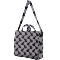 Black Cats On Gray Square Shoulder Tote Bag