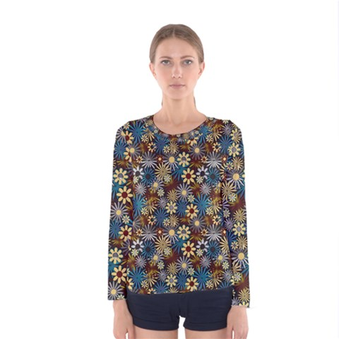 Daisies Variation 1 Women s Long Sleeve Tee by bloomingvinedesign