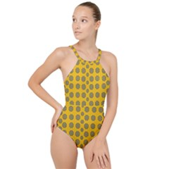 Sensational Stars On Incredible Yellow High Neck One Piece Swimsuit by pepitasart