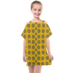 Sensational Stars On Incredible Yellow Kids  One Piece Chiffon Dress