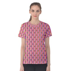 Pink Stripe & Roses Women s Cotton Tee by charliecreates