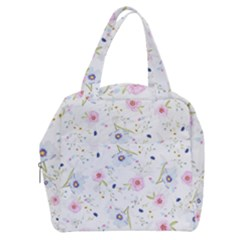 Pink Blue Flowers Pattern                     Boxy Hand Bag