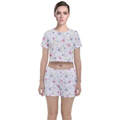 Pink Blue Flowers Pattern                       Crop Top And Shorts Co-ord Set by LalyLauraFLM
