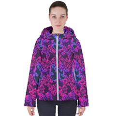 Pink Blue Abstract Texture                       Women s Hooded Puffer Jacket