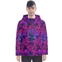 Pink Blue Abstract Texture                        Men s Hooded Puffer Jacket by LalyLauraFLM