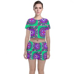 Purple Shapes On A Green Background                        Crop Top And Shorts Co-ord Set by LalyLauraFLM