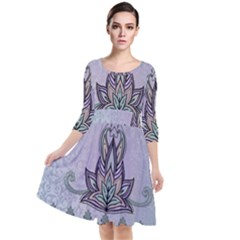 Abstract Decorative Floral Design, Mandala Quarter Sleeve Waist Band Dress by FantasyWorld7