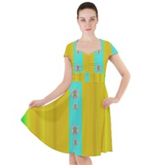 Colors And Flowers Cap Sleeve Midi Dress by pepitasart
